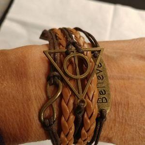 Leather & cord bracelet